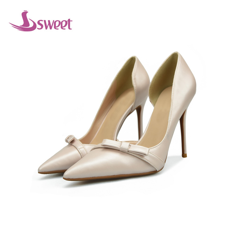 sweet Brand womens shoes woman pumps Summer Basic PU Slip-On Pointed Toe Thin Heels Sweet Butterfly-knot Leisure A55 new 2017 spring summer women shoes pointed toe high quality brand fashion womens flats ladies plus size 41 sweet flock t179