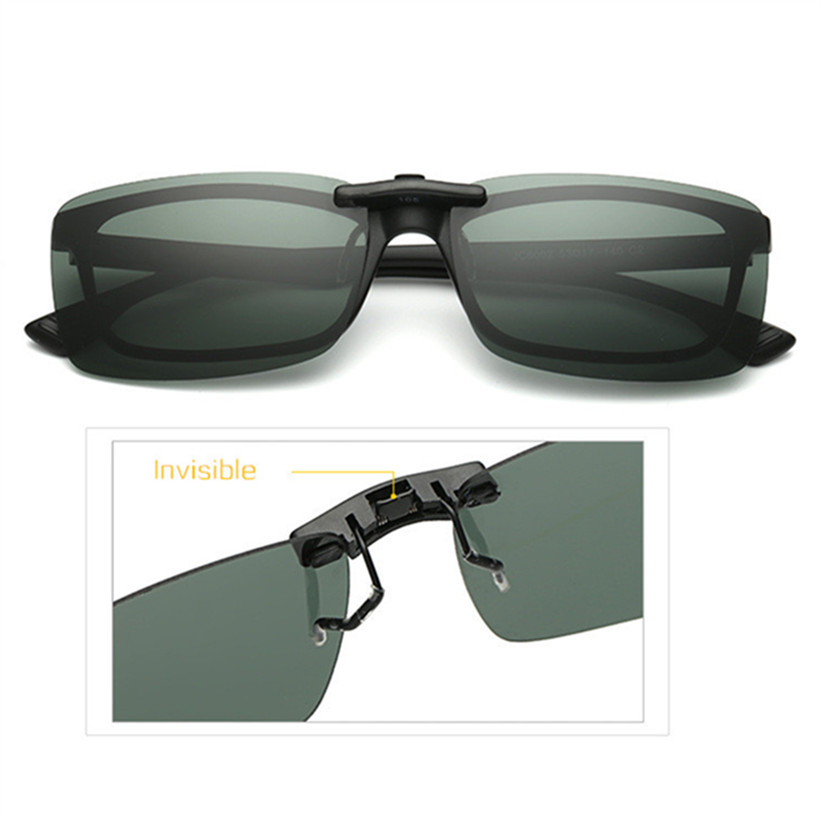 Classic Polarized Lenses Sunglasses Clip on Myopia Glasses Rimless Men Women Night Vision Driving Sunglasses Flip on Glasses