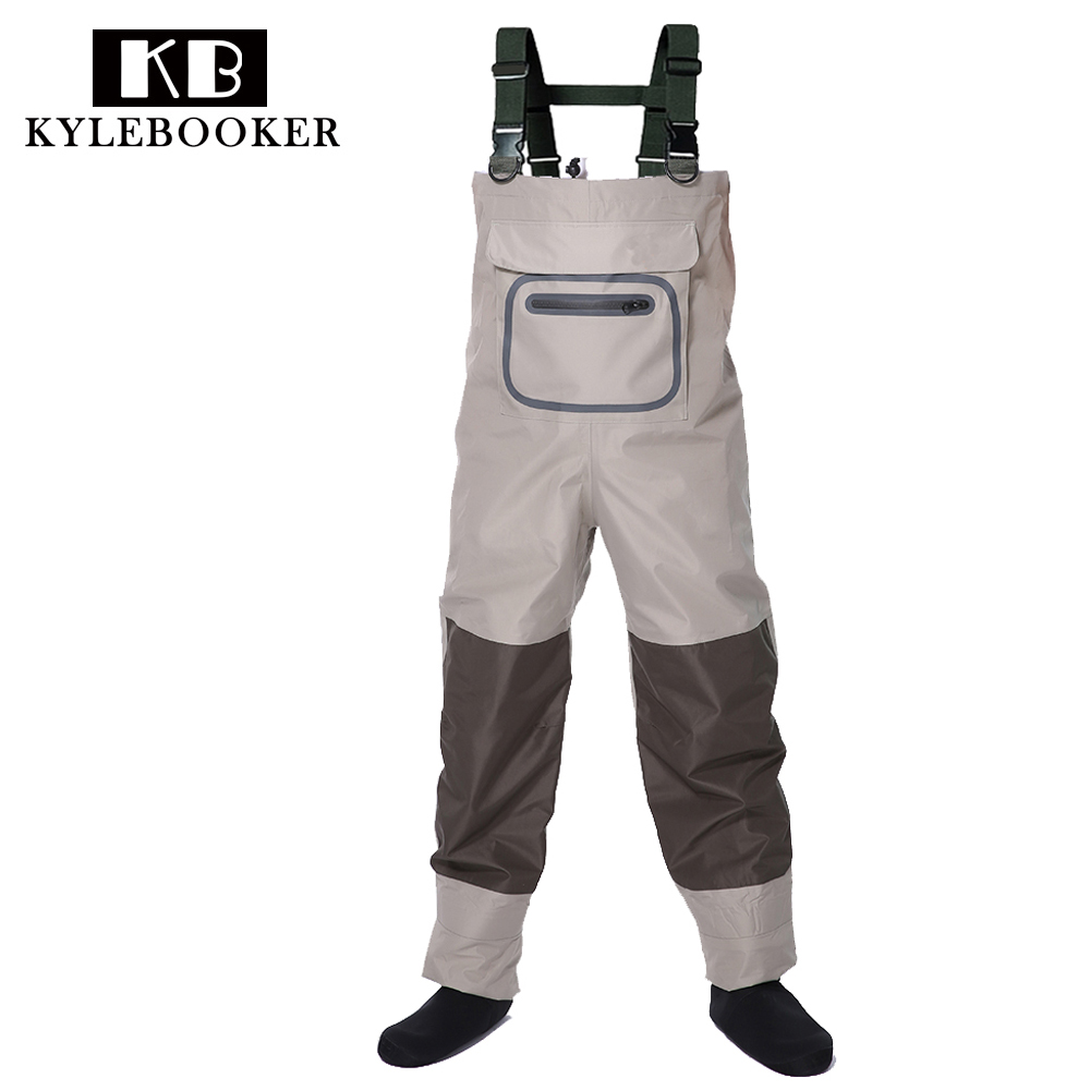 Fly fishing Breathable Chest Waders Rafting wear waterproof wader trousers Hunting wading pants overalls with Stocking Foot thicker waterproof fishing boots pants breathable chest waders wading farming overalls cleaning siamese bust clothes