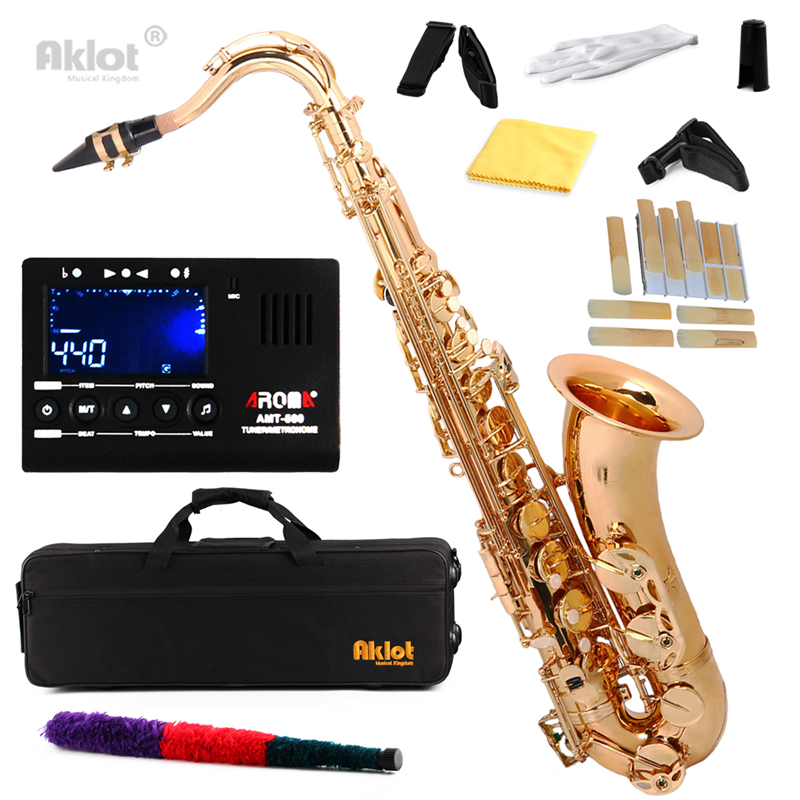Aklot Bb Tenor Saxophone Sax Gold Lacquered with Neck Strap Reeds Cleacing Kit Tuner