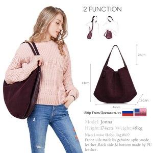 Image 2 - Новинка, женская сумка из натуральной замши и спилка, дизайнерские женские вместительные сумки на плечо, однотонная Повседневная дорожная сумка