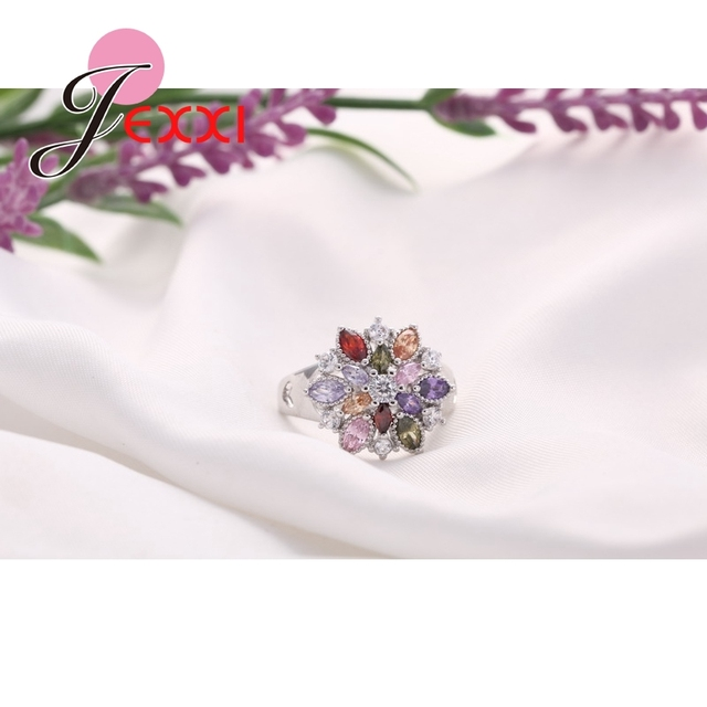Girls Bling Jewelry Finger Accessories Fashion 925 Sterling Silver Colorized Flower Shape Rings Wholesale 3