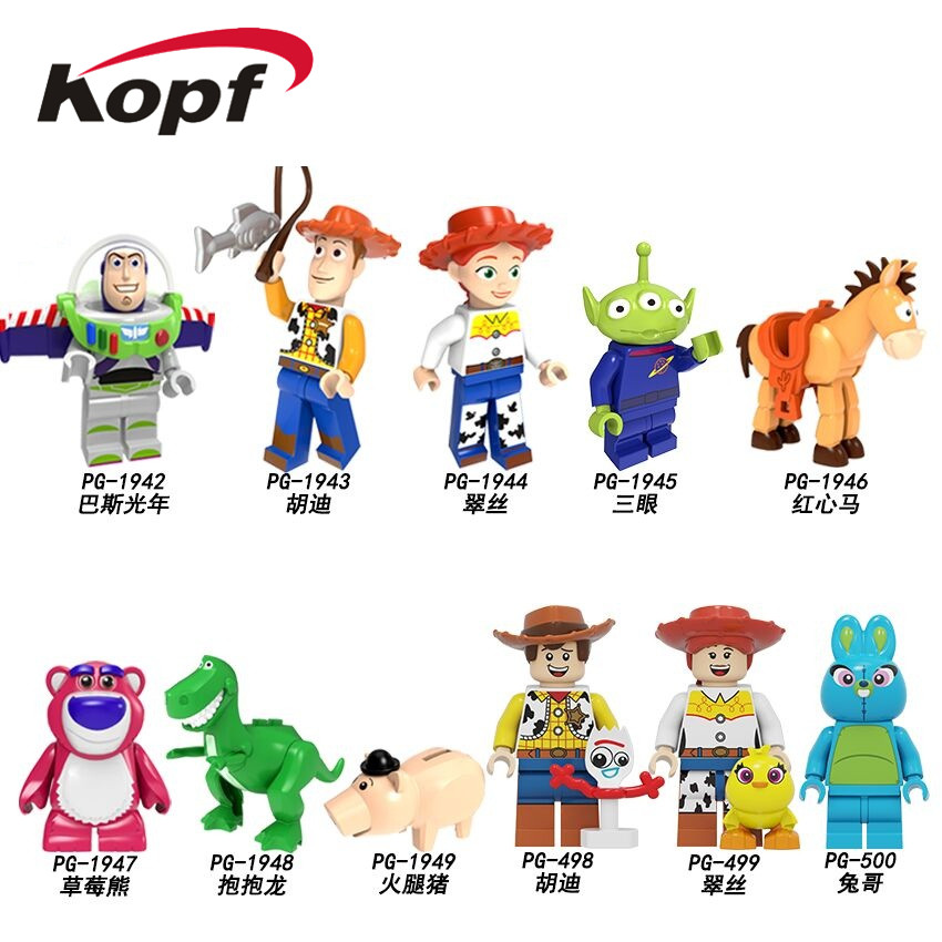 PG8270 Toy Story 4 Movie Cartoon Building Blocks Pumping Series Woody Jessie Buzz Lightyear Bricks Figures Toys For Kids Gifts