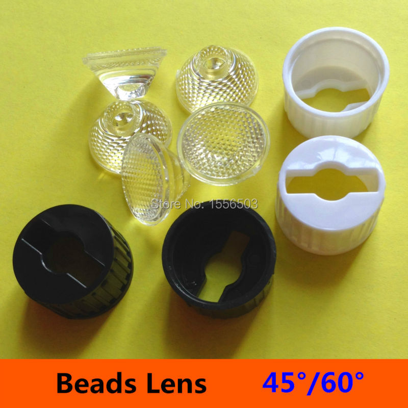50 sets/lot 20mm 45 60 Degree Set With Holder Bracket Angle LED Lens 1W 3W Flat Bead Surface PMMA Lenses for LED bulb spot Lamp