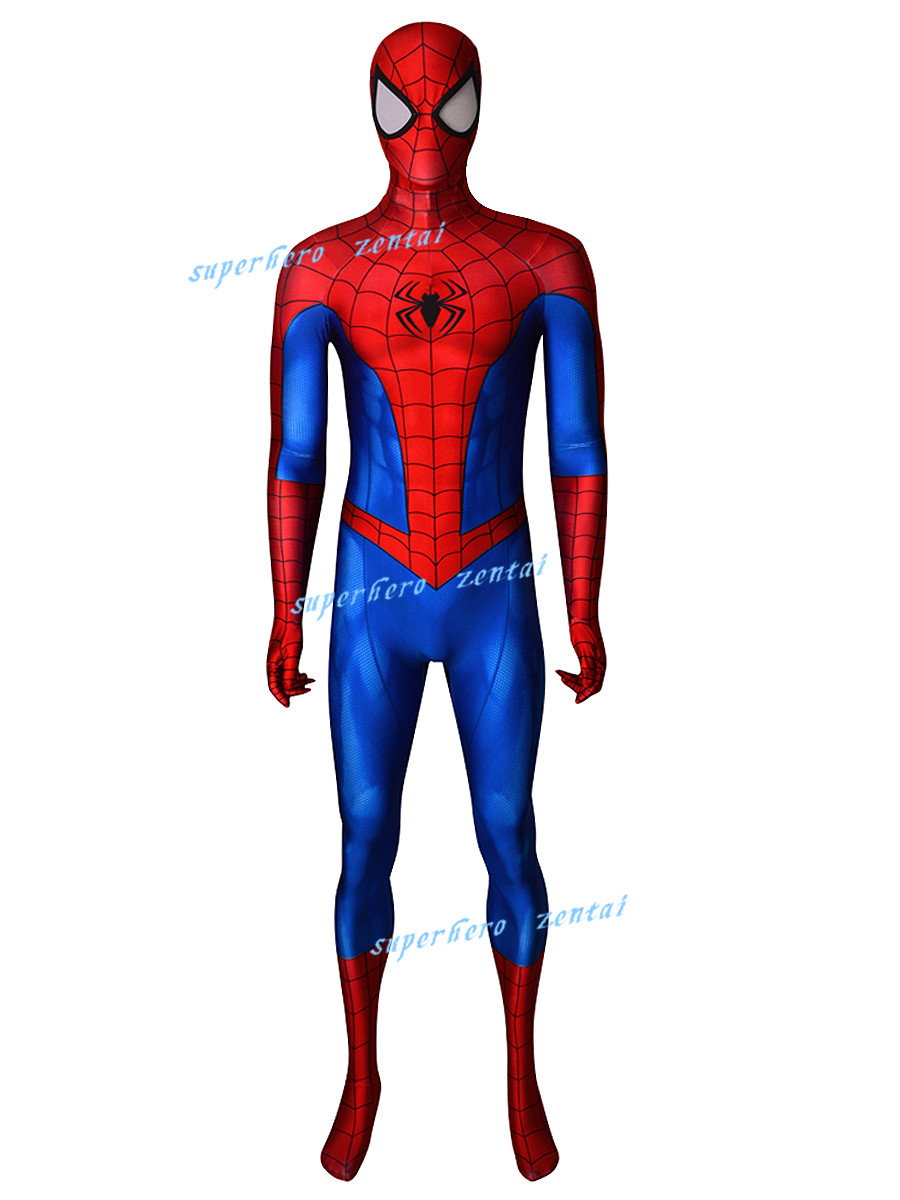 2019 new Classic PS4 Spiderman Cosplay Costume 3d print red Spider-Man Homecoming Zentai Suit for adult kids Can custom made
