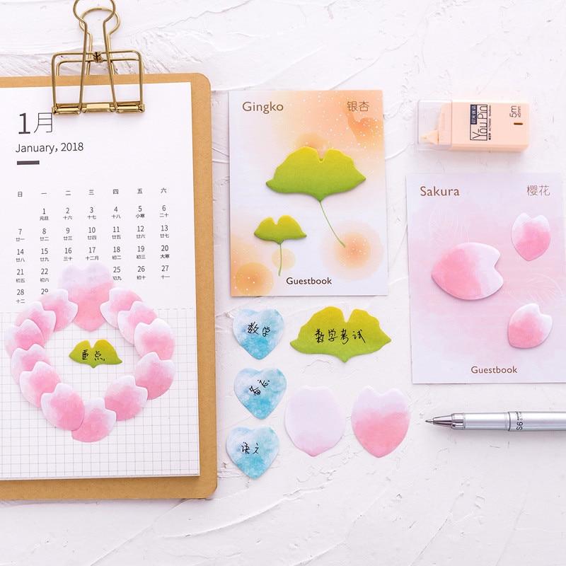 2Pcs Korean Flower Sakura Gingko Cute Kawaii Memo Pads Stationery Store Post it Sticky Note Notepad Diary Kids Sticker Warning