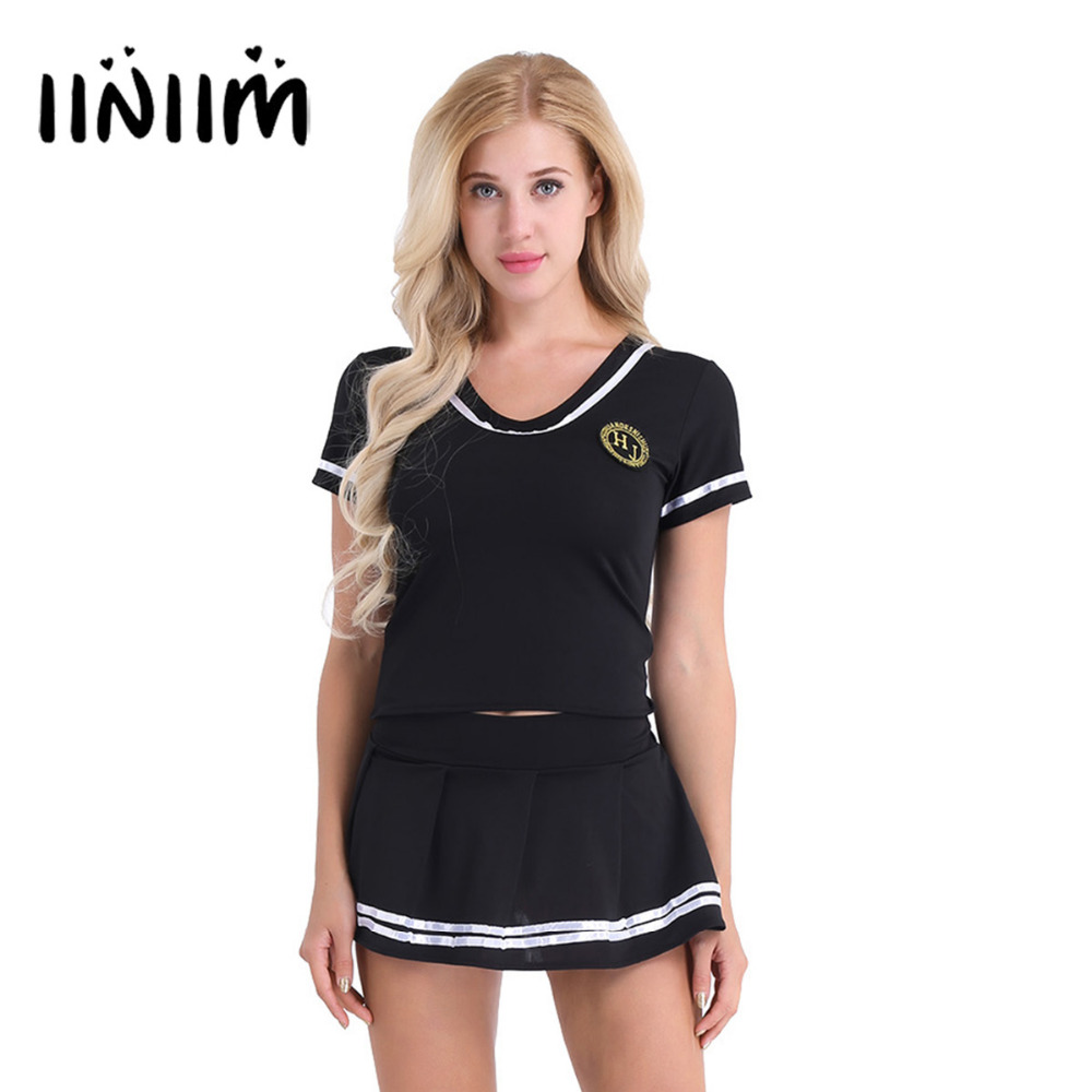3Pcs Women Cheerleader Cosplay Costume Christmas Party Lingerie Outfit Short Sleeve T-shirt Top with Mini Skirt and G-string