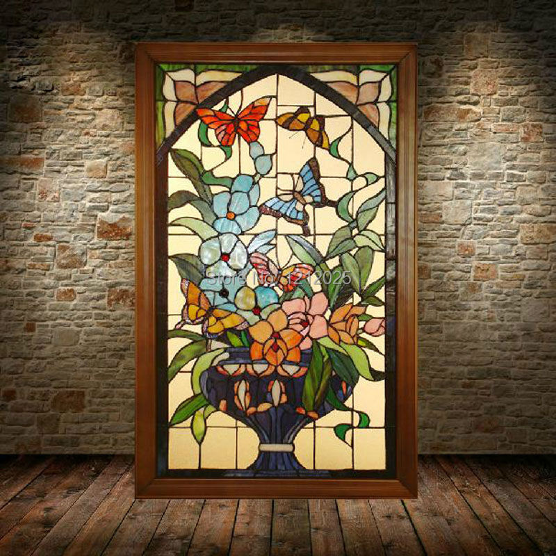 Tiffany Style Stained Gl Victorian Window Panel Pea Flowers Vintage Handcrafted Arts Home Decoration Wall Decor 21 X35 On Aliexpress Alibaba