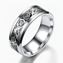 QIANBEI Silver Celtic Black Dragon Carbon Fiber 316L Stainless Steel Men Women Silver Ring Band Wedding Engagement Gift free(China)