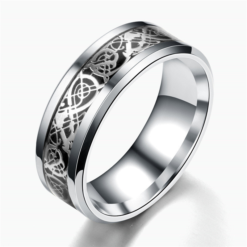 QIANBEI Silver Celtic Black Dragon Carbon Fiber 316L Stainless Steel Men Women Silver Ring Band Wedding Engagement Gift free