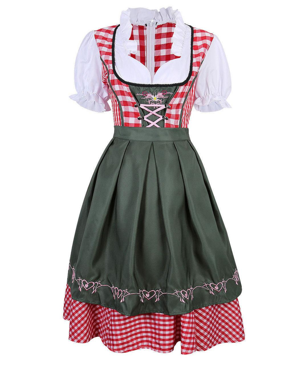 2pc/Set Traditional Dirndl German Bavarian Beer Girl Costume Oktoberfest Festival Fancy Dress