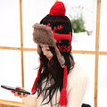 Hat female winter lei feng cap onta hat northeast cap ear thermal thickening knitted hat
