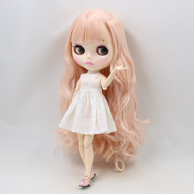 Blyth nude doll 30cm white skin Fantasy pink long curly hair with bangs 1/6 JOINT body new glossy face ICY DIY toy No.2352