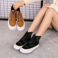 2018 autumn and winter new Martin boots female students short tube women's boots Korean version of the wild England lace shor b