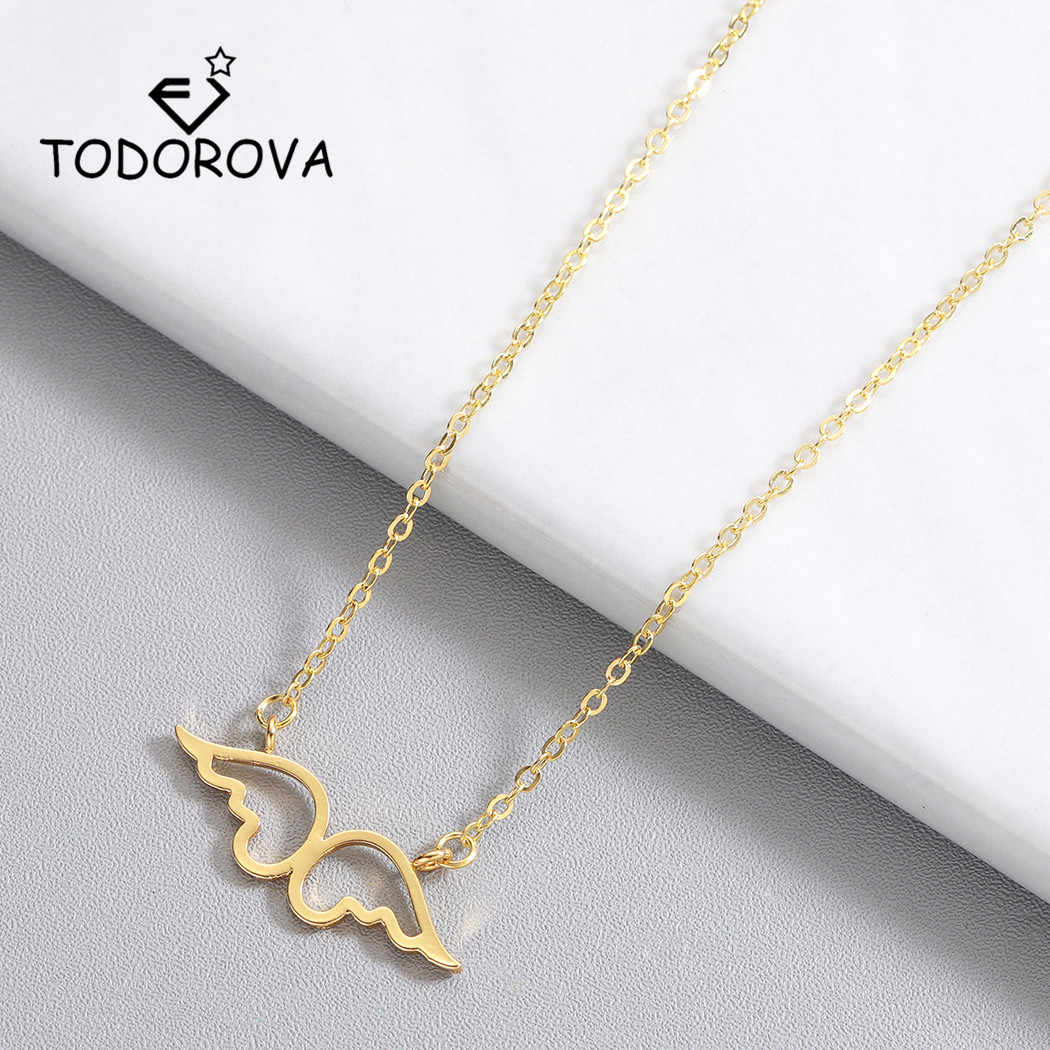 Todorova Choker Stainless Steel Guardian Angel Wings Pendant Necklace Clavicle Chains Statement Necklace Women Men Jewelry