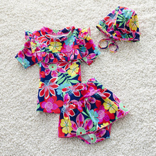 children's swimwear girls children bathing suit kids floral short sleeves top T-shirt Swimming Cap and Shorts Two Pieces set