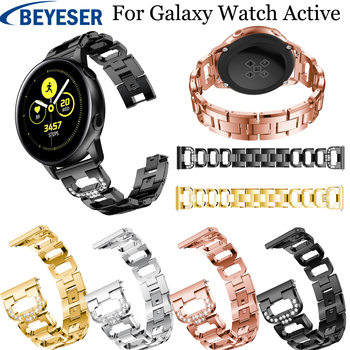 20mm For Samsung Galaxy Watch Active Stainless Steel Strap Watch band for samsung gear s2 sport strap galaxy watch 42mm bracelet laforuta nylon band for samsung galaxy watch active band galaxy 42mm strap classic s2 sport 20mm quick release watch band