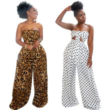 Summer Sexy 2 Piece Outfits for Women Fashion Dot Leopard Print V-neck Wrapped Chest Top