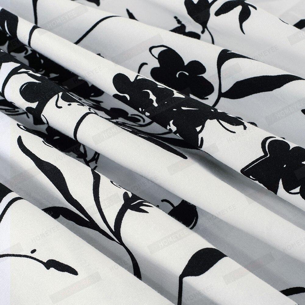 Summer Women Vintage Black Floral Print Sleeveless Swing A-line Elegant Lady O-Neck Knee-Length Dress EA099 4