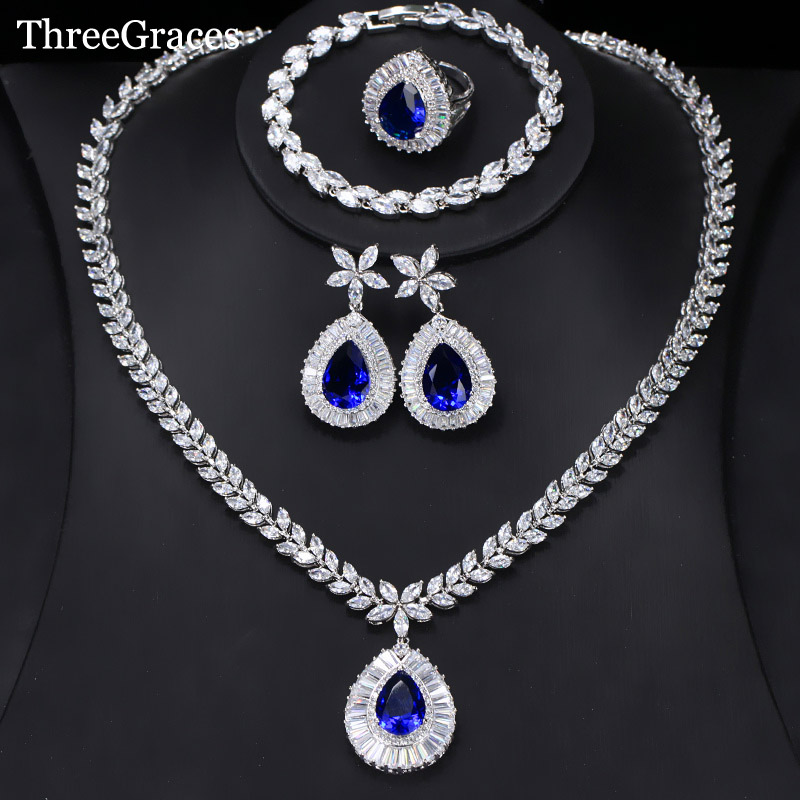 ThreeGraces Luxury Wedding Jewelry Set Big Water Drop Cubic Zirconia Royal Blue 4Pcs Ring Earrings Necklace Set For Women JS231 cwwzircons water drop royal blue cz necklace earrings ring and bracelet 4 piece wedding jewelry set for women bridal party t098