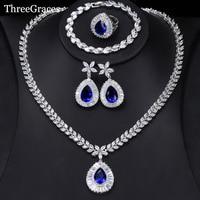ThreeGraces Luxury Wedding Jewelry Set Big Water Drop Cubic Zirconia Royal Blue 4Pcs Ring Earrings Necklace Set For Women JS231