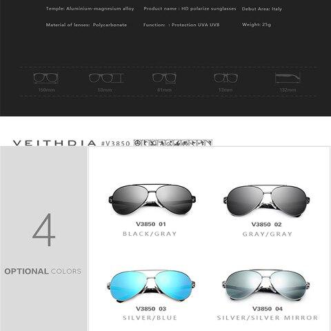 VEITHDIA Vintage Brand Aluminium Magnesium Mens Sunglasses Pilot Sun glasses Eyewear Accessories For Men VT3850 Multan