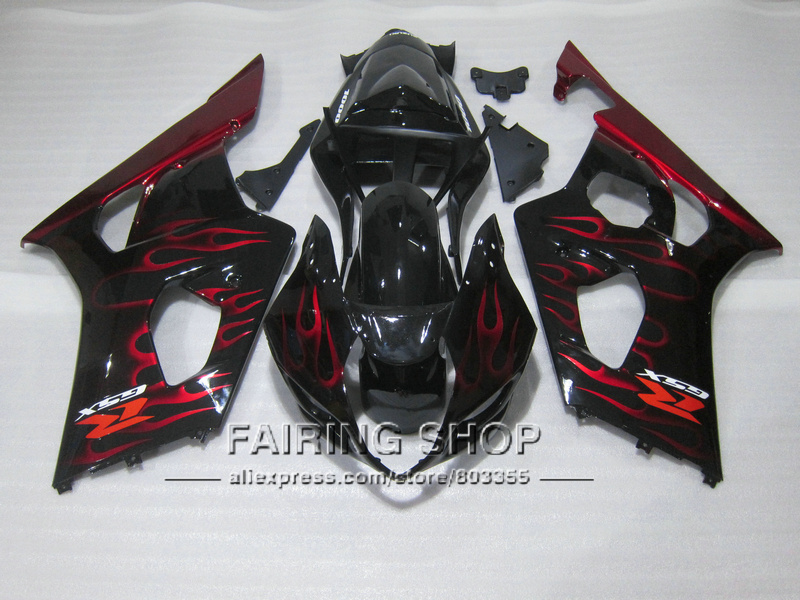Injection mold 100% fit for Suzuki GSXR1000 03 04 K3 K4 red flames black bodywork fairings set GSXR 1000 2003 2004 WT30 100% fit for suzuki injection molding gsxr1000 fairing kit k3 k4 2003 2004 brown black fairings set gsxr 1000 03 04 ap34