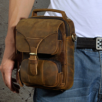 Men S Waist Belt Tote Handbag Hip Bum Purse Crazy Horse Cowhide Genuine Leather Top Handle