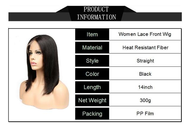 Gs High Temperature Fiber Women Middle Part Lace Front Wigs Straight Black 14inch Medium Length Lady Artificial Hairpiece