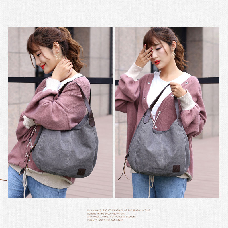 Image 5 - Aosbos 2019 Brand Women's Canvas Handbag High Quality Female Shoulder Bag Vintage Solid Multi pocket Fashion Ladies Totes Female-in Top-Handle Bags from Luggage & Bags