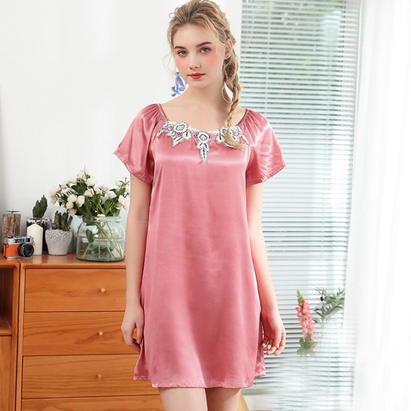 SSH0336 Women   Nightgown     Sleepshirt   Short Sleeve Nightdress Nightwear Lady Sexy Mini Night Gown Dress Female Satin Silk Sleepwear