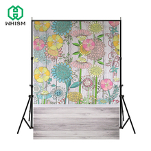 цены WHISM Print Pink Flower For Wedding Children Party Photo Prop Vinyl Wallpaper Photography Backdrops  Backgrounds 3x5ft(90x150cm)