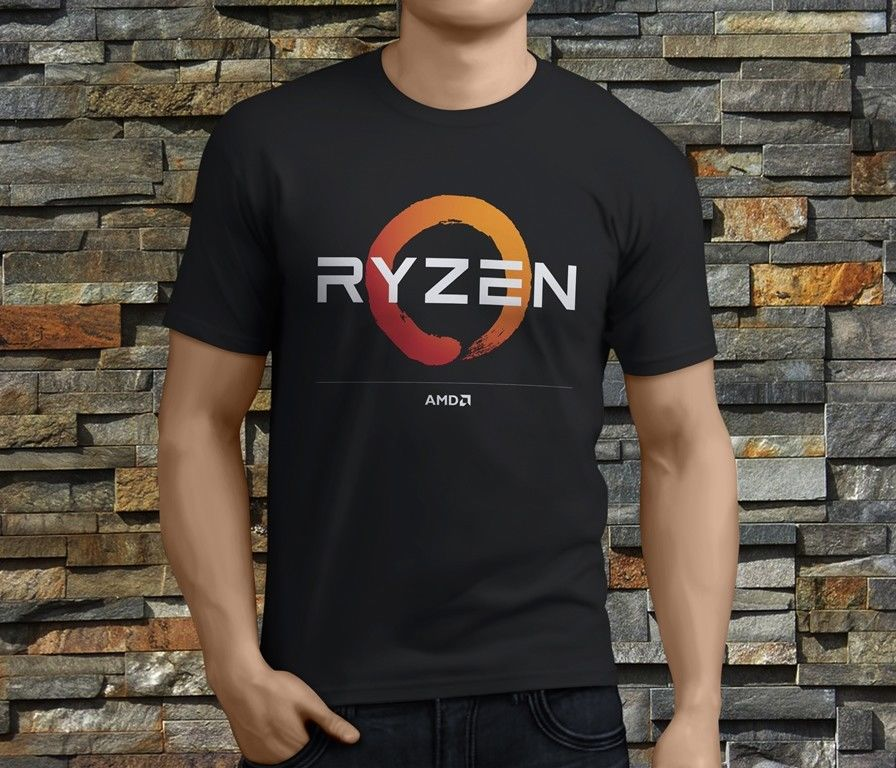 New AMD Gaming RYZEN CPU 2 Mens Black Round Neck Crazy Top Tee ...