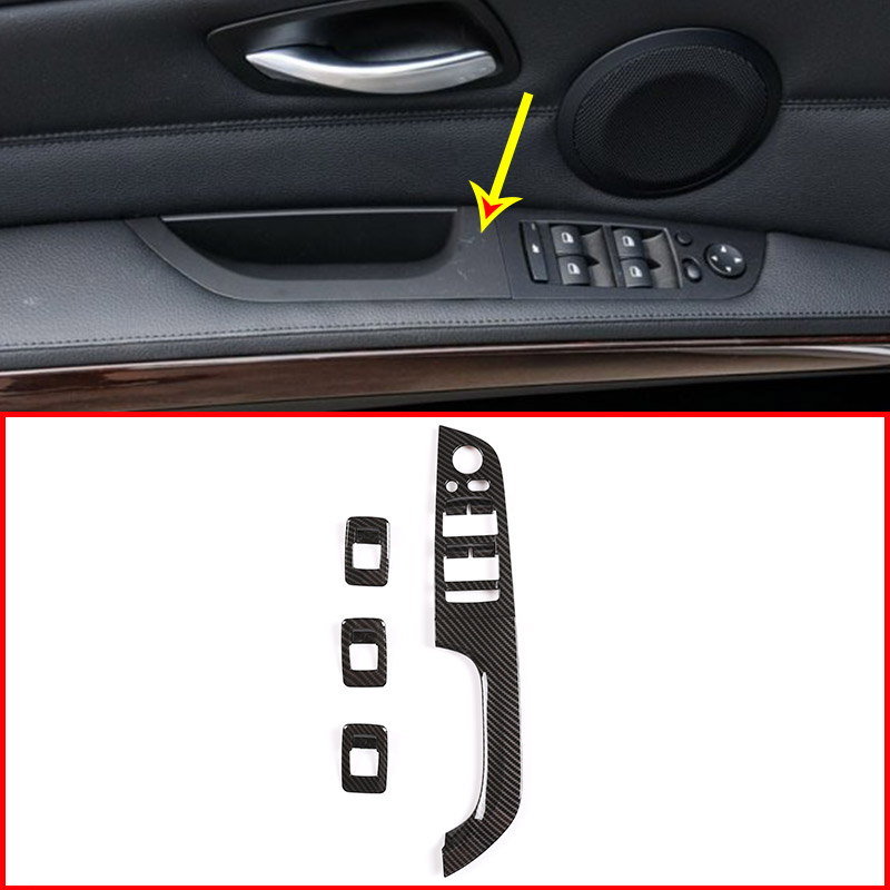 4pcs <font><b>Carbon</b></font> <font><b>Fiber</b></font> Style ABS Car Window Lift Button Frame Trim For <font><b>BMW</b></font> <font><b>E90</b></font> 3 Series 2005-2012 Left Hand Drive Accessories image