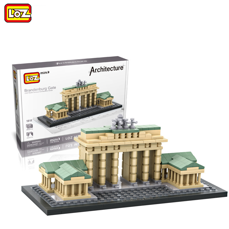 LOZ Mini Blocks 362pcs Famous Architecture Brandenburg Gate Building Blocks Model Toys for Children City Brick 1011 loz lincoln memorial mini block world famous architecture series building blocks classic toys model gift museum model mr froger