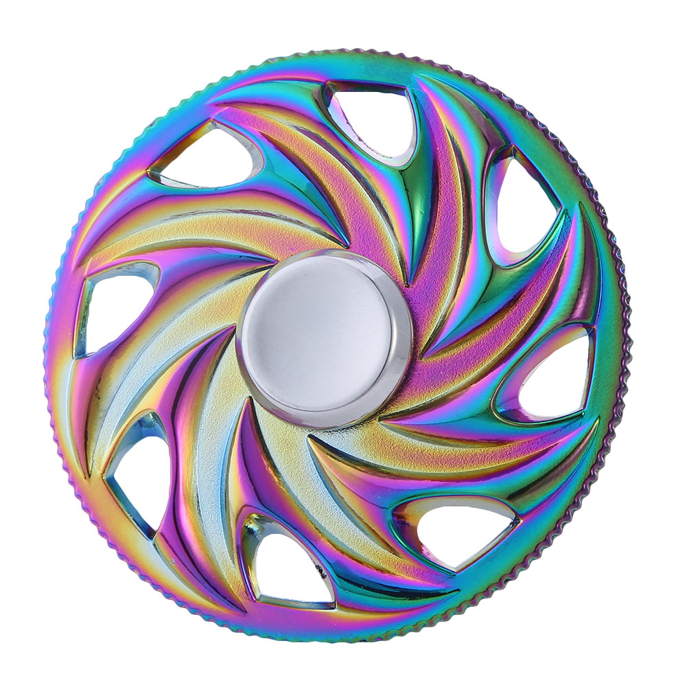 Rainbow Round Wheel Fidget Spinner Hand Spinner Steel Bearing For Autism ADHD Anxiety Stress Relief Toy