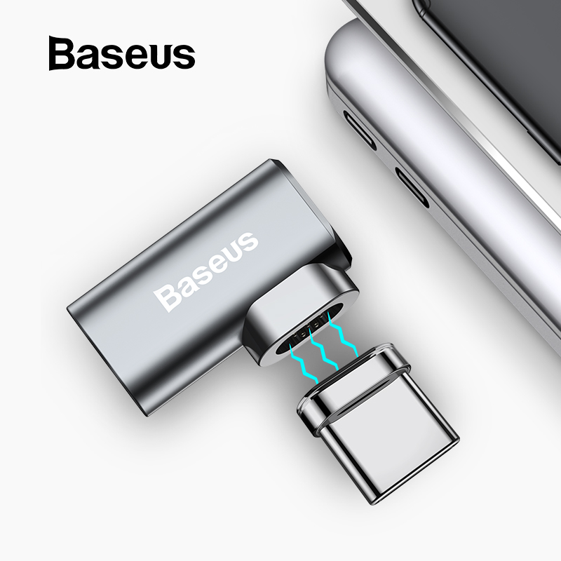 Baseus 86W Magnetic USB C Adapter For MacBook Pro 15inch 6 Pins Elbow USB Type C Charge Connector For Samsung USB Adapter(China)