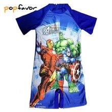 POPFAVOR Children Swimwear One Piece Minions Swimsuit Captain America Bathing Suit Avengers Kids Sport Beachwear Boys Swimsuit
