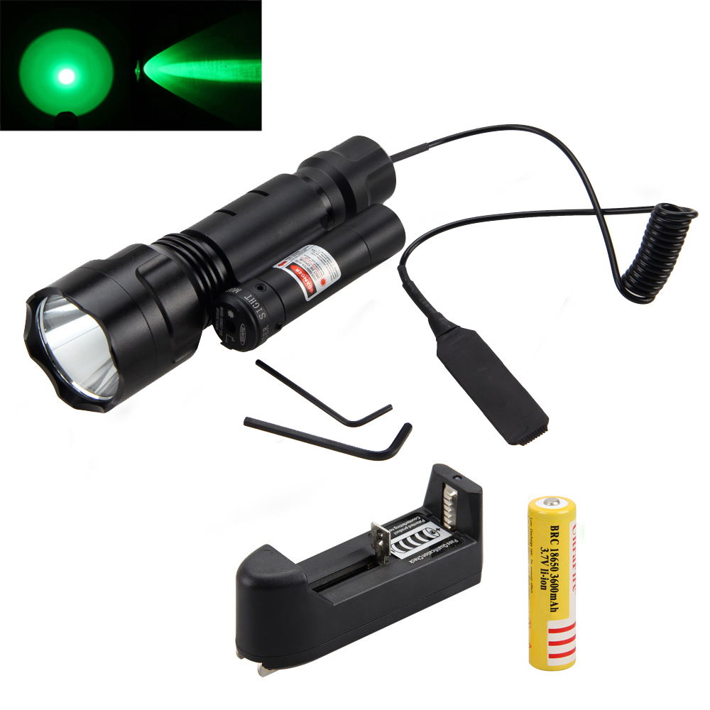 Tactical Free Shipping Red Dot Laser Sight +5000Lm XML Green LED Hunting Flashlight Torch Light 18650