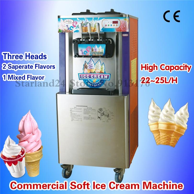 цена на Floor Stand Soft Ice Cream Machine 3 Flavors Ice Cream Maker Output 22~25L/Hour Orange Color Digital Control CE Approval
