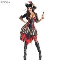 Seseria костюм пирата взрослых женщин Хэллоуин Карнавальный Sexy Party Косплей костюмы Пираты Карибского моря униформа наряд