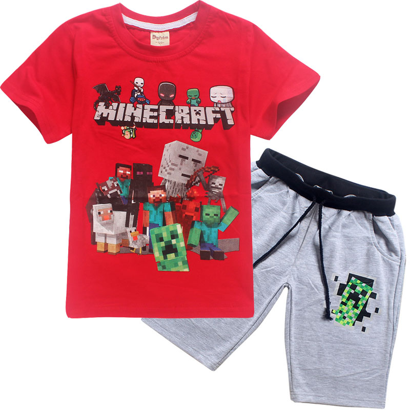 2018 childrens summer cartoon Minecraft printed cotton boy and girl short-sleeved T-shirt + shorts casual sportswear clothing2018 childrens summer cartoon Minecraft printed cotton boy and girl short-sleeved T-shirt + shorts casual sportswear clothing