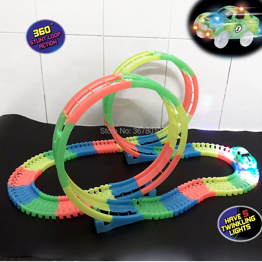 DIY Slot Twister Tracks 360 stunt loop Action Glow in the Dark Flexible Assembly Track with One LED Light Up Race Vehicle Car