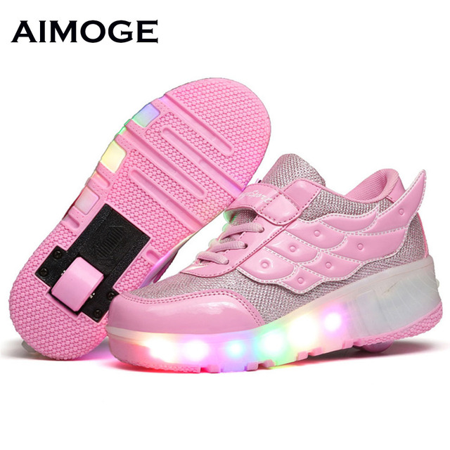 New 2016 summer Breathable shoes Child LED Roller Skate Shoes sneaker With Wheels Girls Boys meisjes schoenen tenis infantil in Sneakers from Mother &