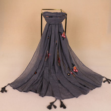 2020 Fashion Embroidered Floral Tassel Viscose Scarf New Spring Printed Long Sof