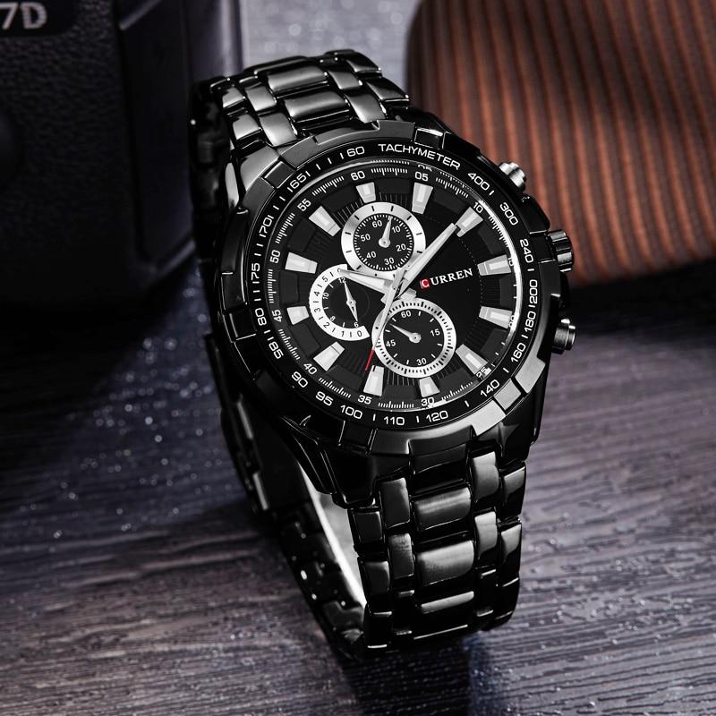 CURREN zegarki mężczyźni Top marka luksusowa moda i Casual zegarki kwarcowe męskie klasyczne analogowe sportowe pasek stalowy zegar Relojes 2