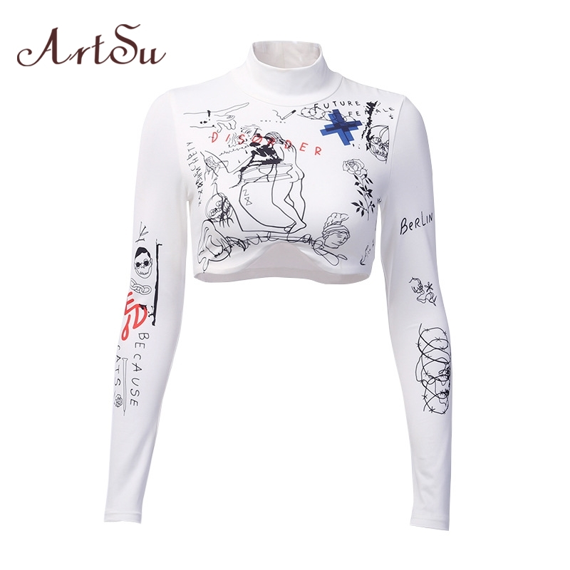ArtSu Harajuku Printed Tshirt Turtleneck Long Sleeve Crop Top White T Shirt Funny Tee Shirt Femme Woman Shirts Casual ASTS21027