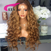 KRN 180 Density Curly Lace Front Wigs With Baby Hair 10 24 Inch Ombre Remy Hair Brazilian Human Hair Wigs Pre Plucked Hairline