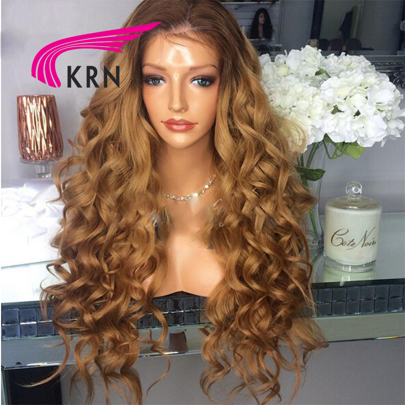 KRN 180 Density Curly Lace Front Wigs With Baby Hair 10-24 Inch Ombre Remy Hair Brazilian Human Hair Wigs Pre Plucked Hairline