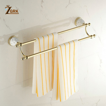 ZGRK Bathroom Towel Holder Wall Mounted Brass Single Brushed Towel Rack Home Hotel Wall Sucker Hanger Supplies Bath solid brass bathroom towel rack single bar carved holder antique brass bathroom towel holder wall mounted